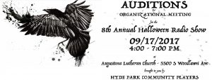 Auditions for AN EVENING OF HORROR AND SUSPENSE! Sunday, September 17 from 4-7pm at Augustana Lutheran Church