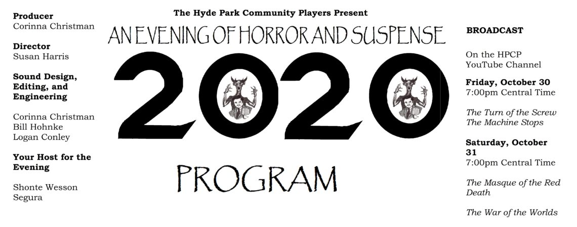 Program for An Evening of Horror and Suspense 2020