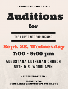 Auditions for The Lady's Not for Burning