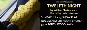 TWELFTH NIGHT, July 14-16 & 21-23, in Nichols Park.
