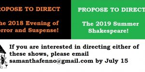 Directors Needed: An Evening of Horror and Suspense 2018 / summer outdoor Shakespeare 2019